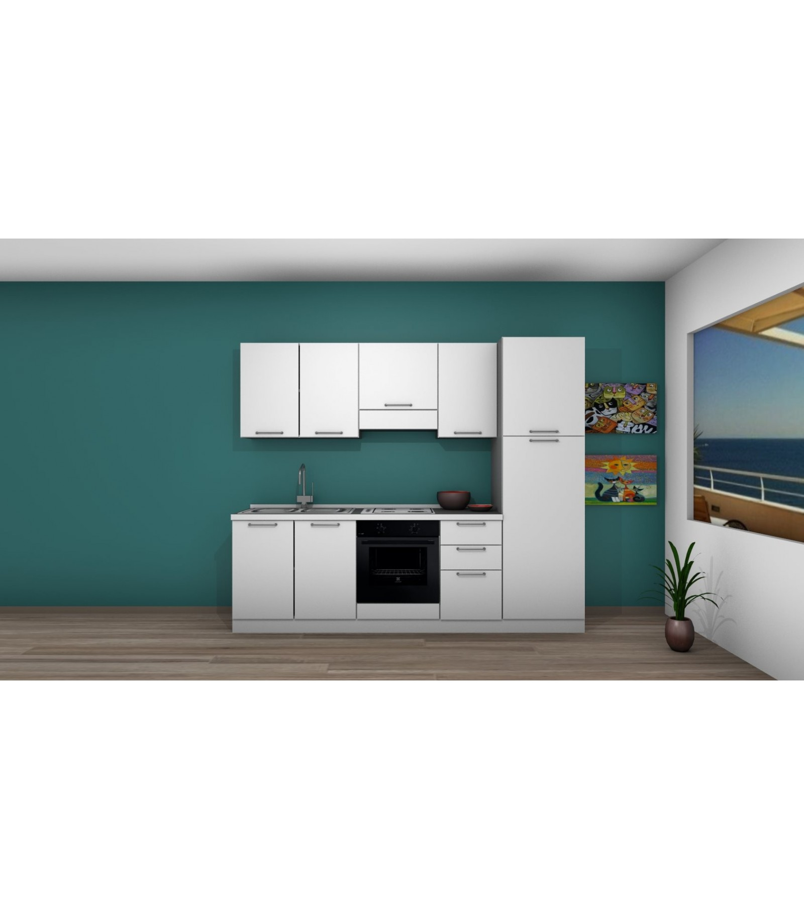 Cucina 08 lunghezza 255 cm mariotti casa - Lunghezza cucina ...