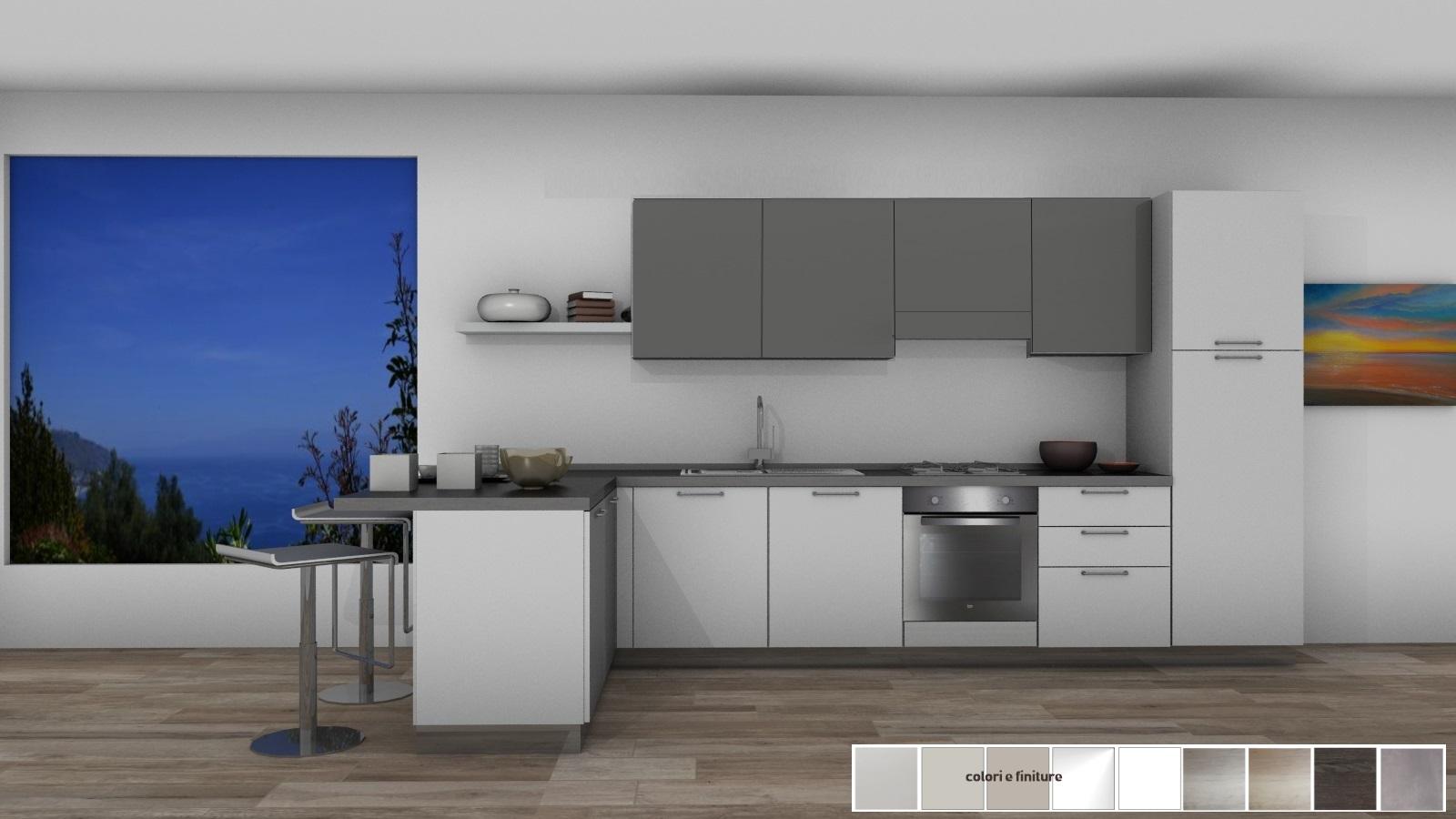 20 cucina con penisola 175x390